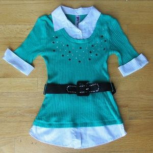 Knitworks  Collared and Belted Blouse Shirt Top